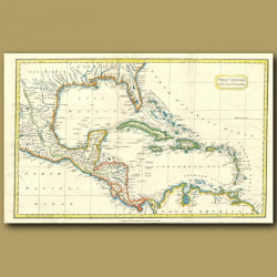 Map Of The West Indies On Mercator's Projection