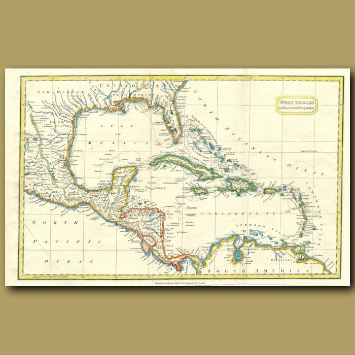 Antique print. Map Of The West Indies On Mercator's Projection