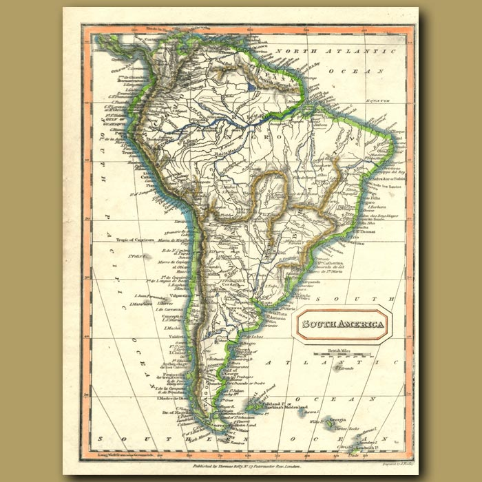 Antique print. Map Of South America
