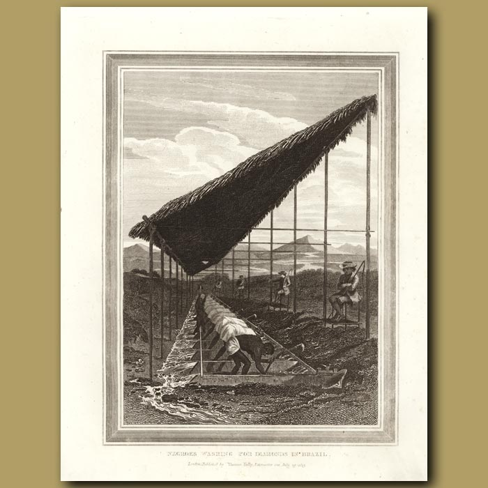 Antique print. Negroes Washing For Diamonds In Brazil