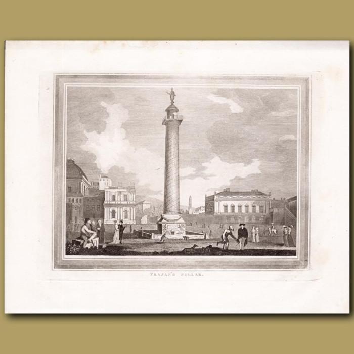 Antique print. Trajan's Pillar