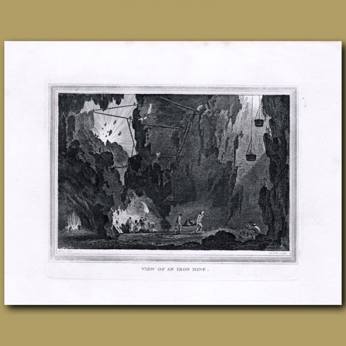 Antique print. View of an Iron Mine