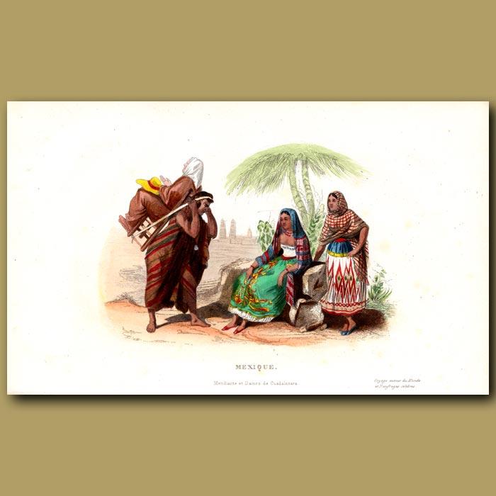 Antique print. Men and Women of Mexico, Guadalajara