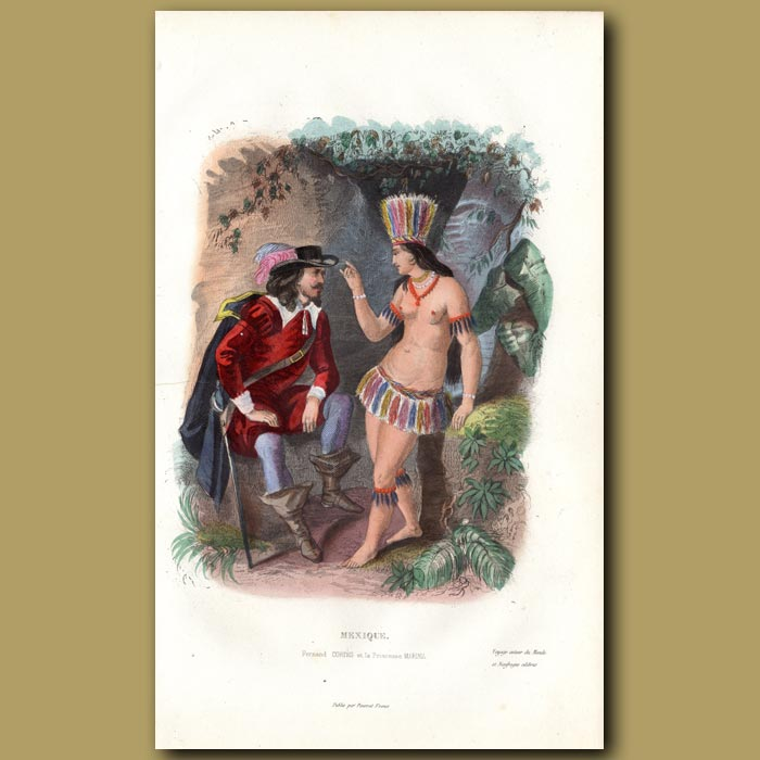 Antique print. Fernando Cortes and Princess Marina in Mexico
