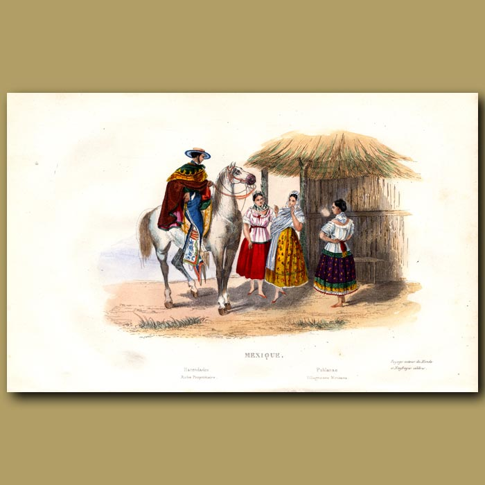 Antique print. Rich Hacienda Owner and Villagers in Mexico