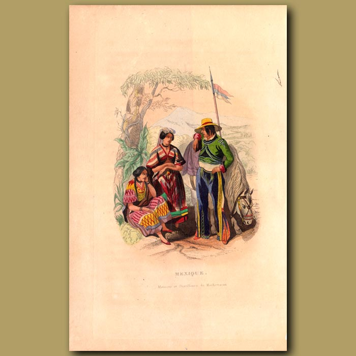 Antique print. Mexican Women and Man