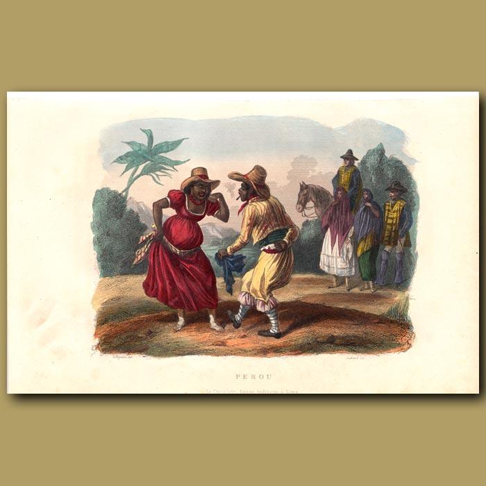 Antique print. The Chocolate Dance in Peru