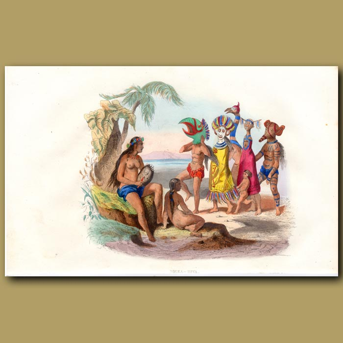 Antique print. Masked People of Nuka Hiva in the Marquesas Islands, French Polynesia