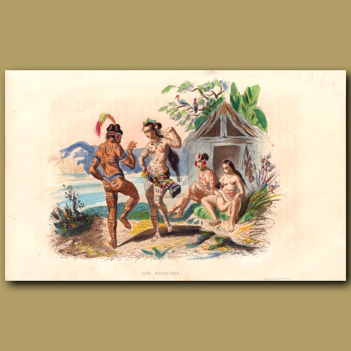 Antique print. Tattooed People of Nuka Hiva in the Marquesas Islands, French Polynesia