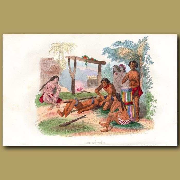 Antique print. Cannibals in Tahiti
