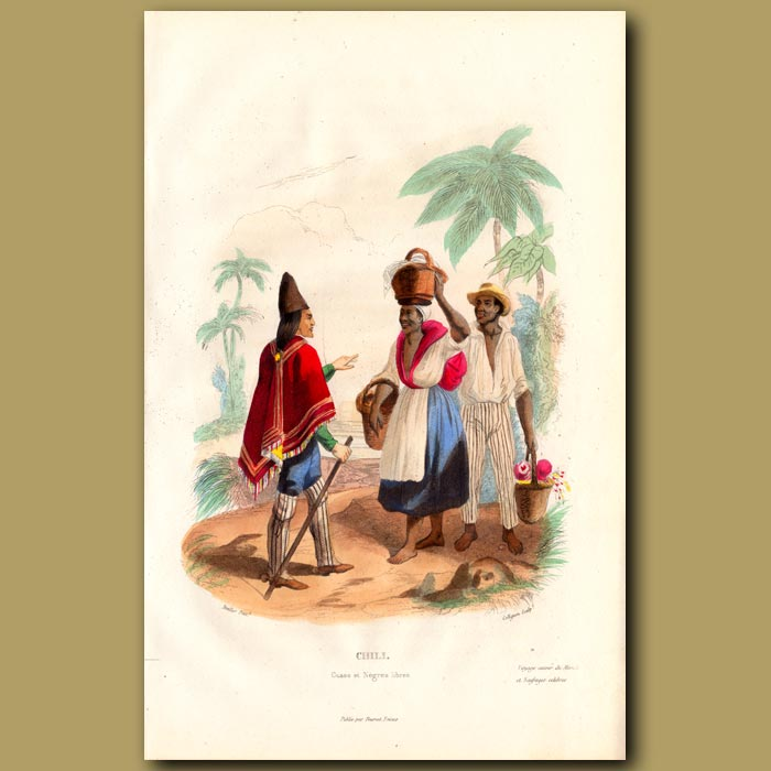 Antique print. People of Chile
