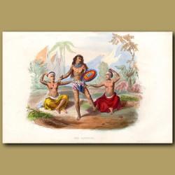Hawaiian People. Dancing Warrior And Ladies
