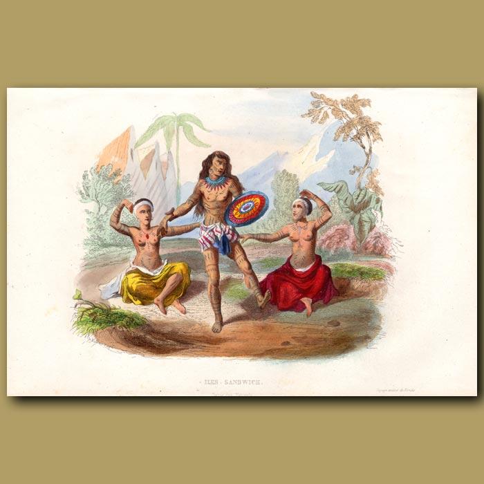 Antique print. Hawaiian People. Dancing Warrior and Ladies
