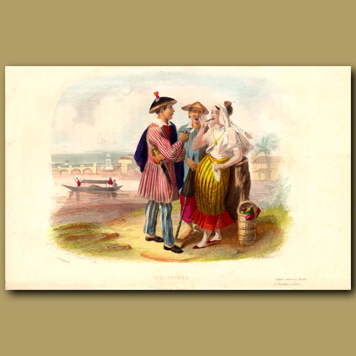 Antique print. Men and Lady in Philippines, Smoking Cigars