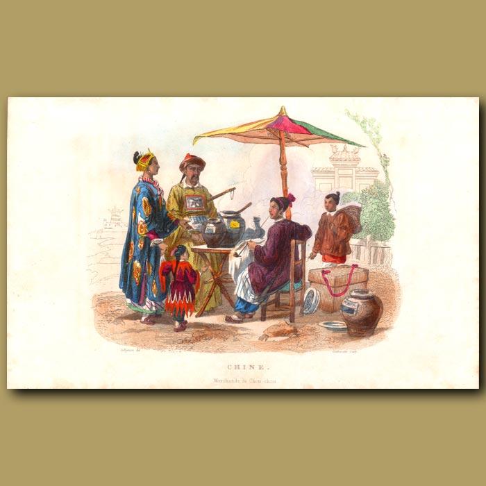 Antique print. Chinese Street Vendors Selling Chou-Chou