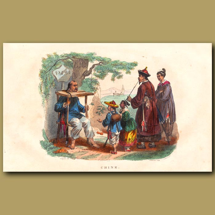 Antique print. Wooden Collared Criminal