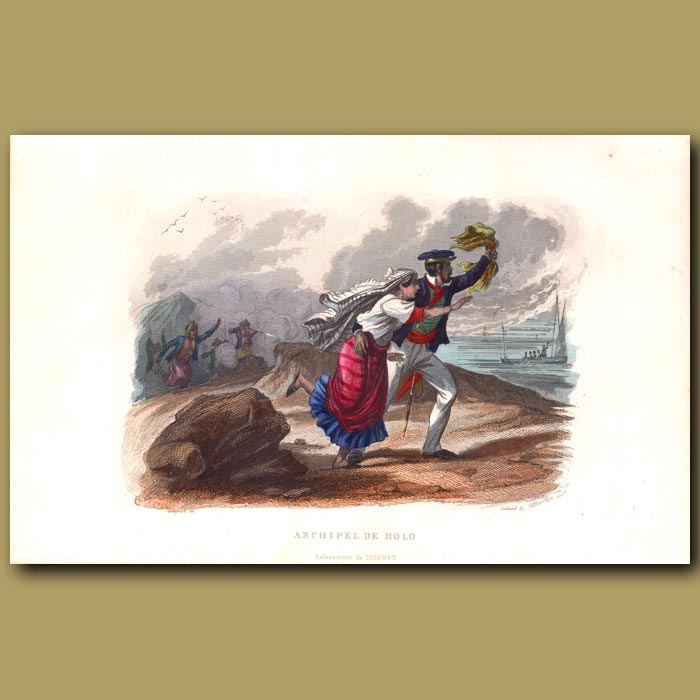 Antique print. Rescue From Moluccas Islands
