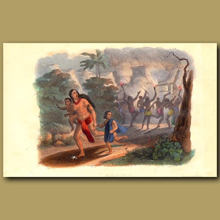 Antique print. Burning Village in Madagascar