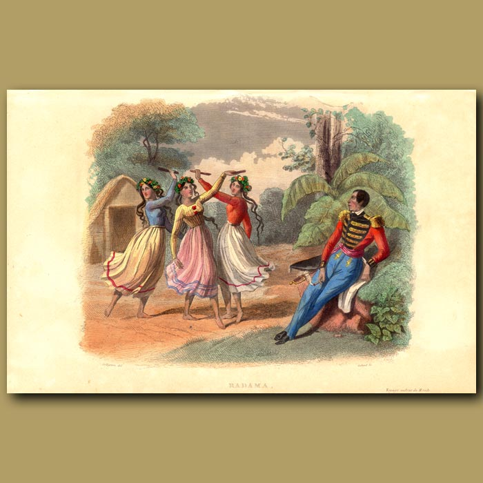Antique print. Girls Dancing in Madagascar for King of Ovas