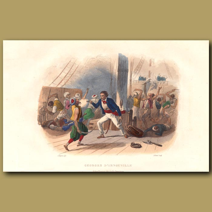 Antique print. Pirates Of Persian Gulf Fighting Georges D'Arnouville