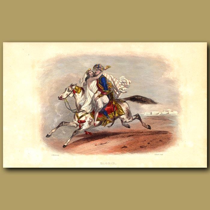Antique print. Lady and Man On Arabian Horse Near Baghdad