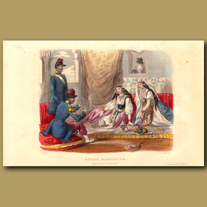 Antique print. Lady's Room in Moroccan House