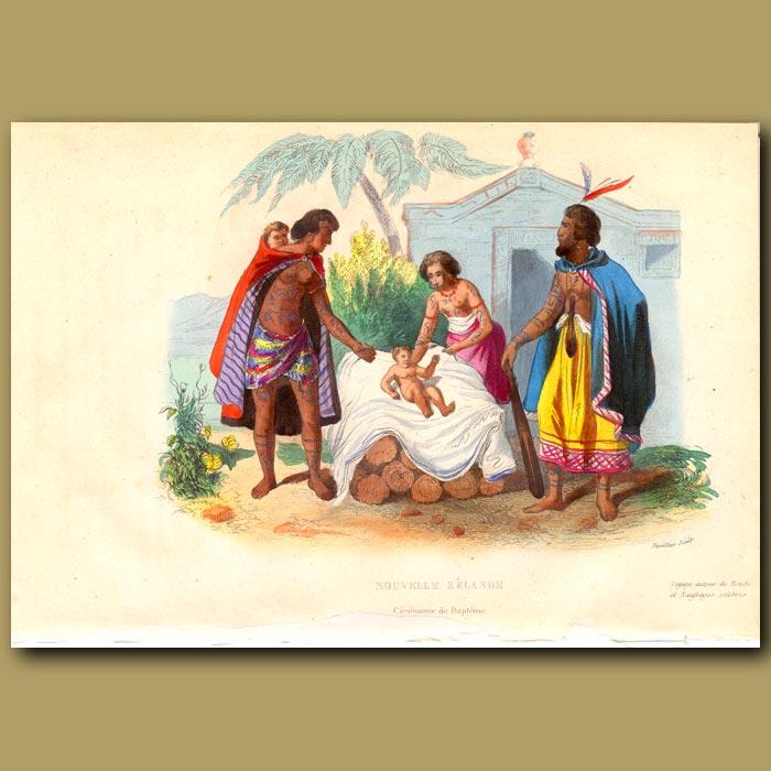 Antique print. Maori Baptism in New Zealand in 1800s