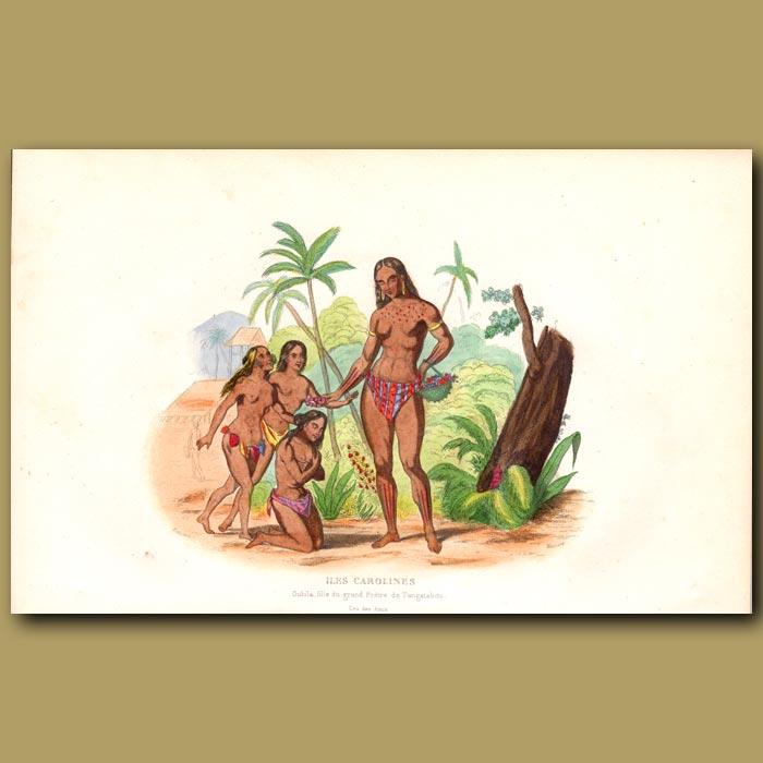 Antique print. Ouhila, Daughter of Chief on Carolinas Islands, Micronesia