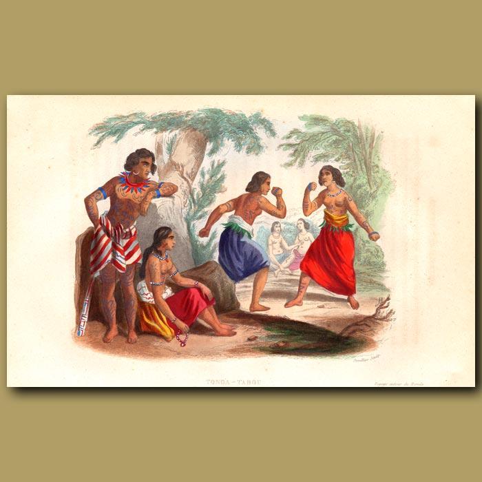 Antique print. Women Fighting in Tonga