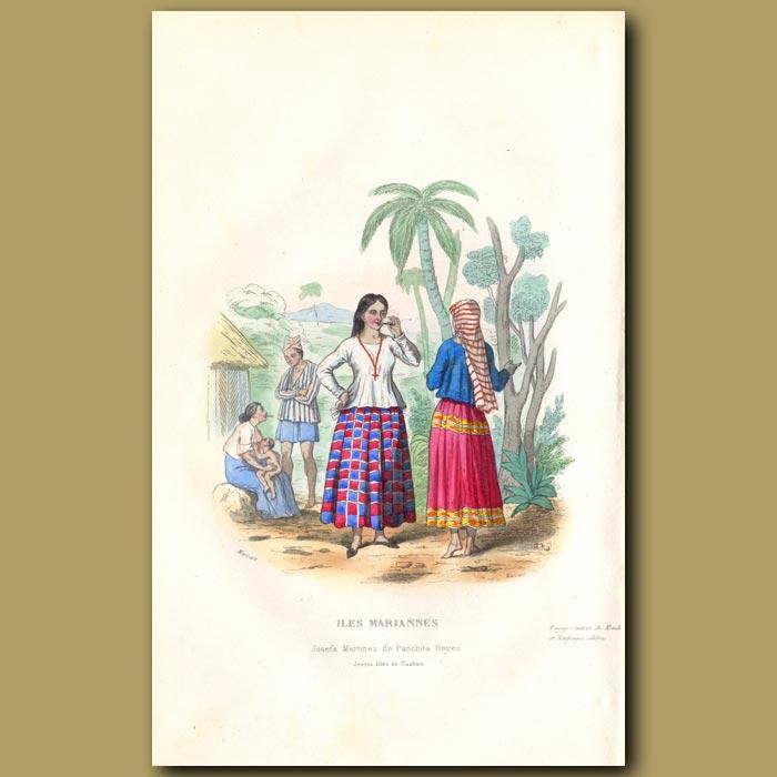 Antique print. Women of Mariana Islands in 1800s