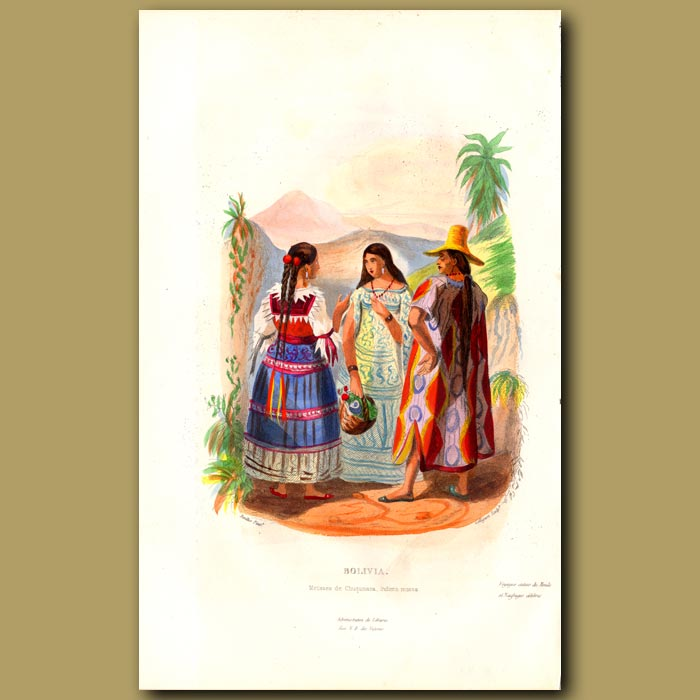 Antique print. Two women and a man from Bolivia