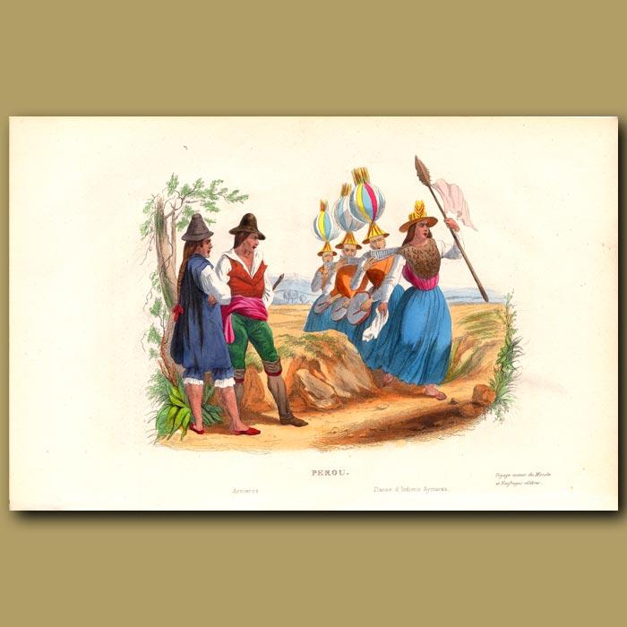 Antique print. Aymaras women from Peru dancing