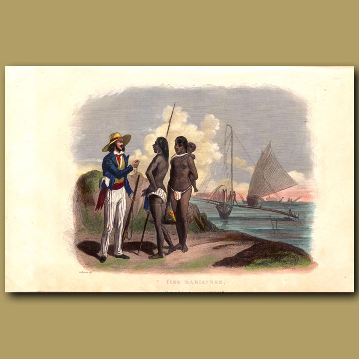Antique print. European man bartering with people of the Mariana Islands