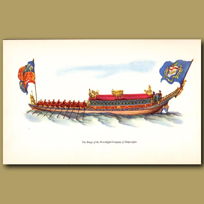 Antique print. The Barge Of The Worshipful Company Of Shipwrights