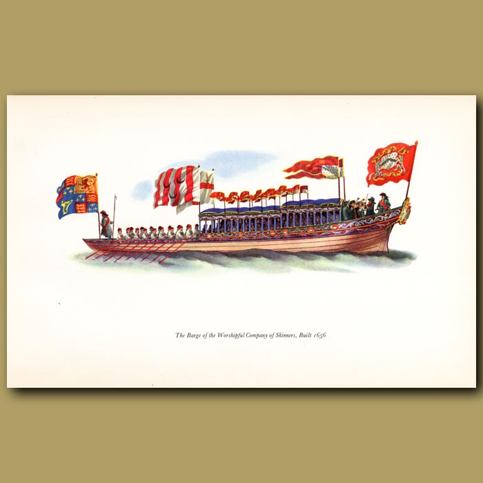 Antique print. The Barge Of The Skinners' Company, Built 1656