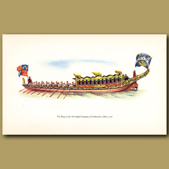 Antique print. The Barge Of The Clothworkers' Company, Built 1728