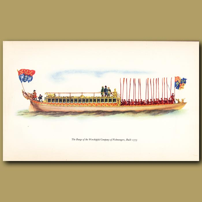 Antique print. The Barge Of The Fishmongers' Company Built 1773