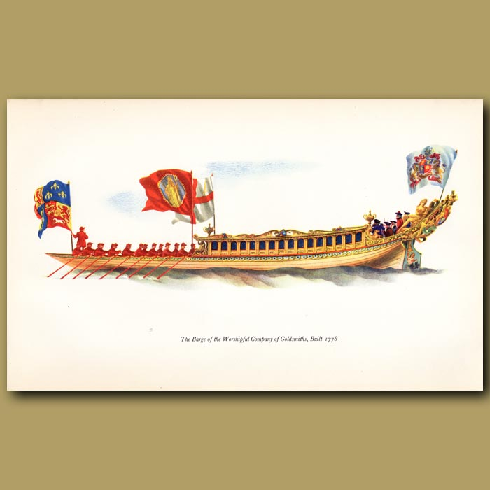 Antique print. The Barge Of The Goldsmiths' Company, Built 1778