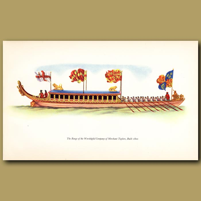 Antique print. The Barge Of The Merchant Taylors' Company, Built 1800