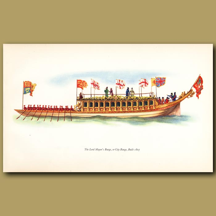 Antique print. Lord Mayor's Barge Or City Barge, Built 1807