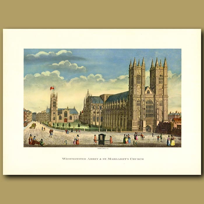 Antique print. Westminster Abbey and St Margarets Church