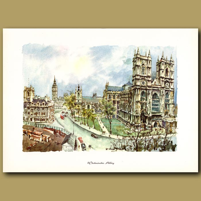 Antique print. Westminster Abbey