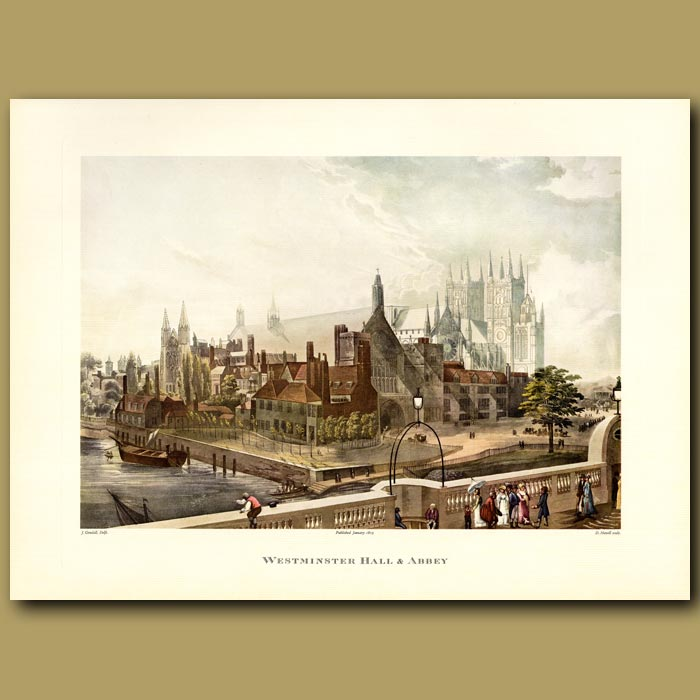 Antique print. Westminster Hall and Abbey