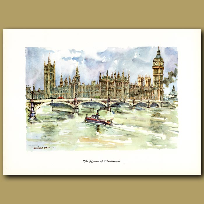 Antique print. The Houses of Parliament
