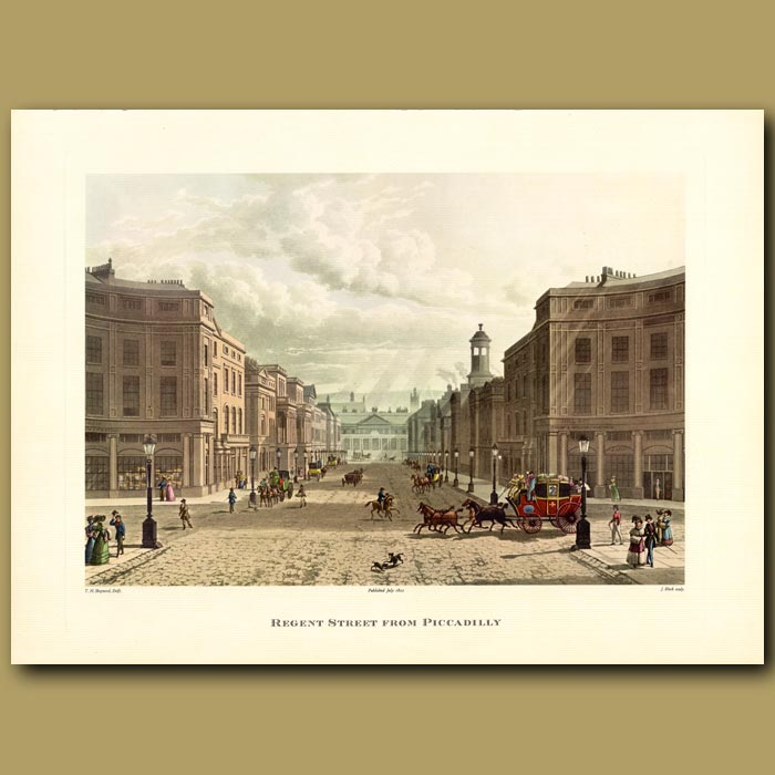 Antique print. Regent Street from Piccadilly