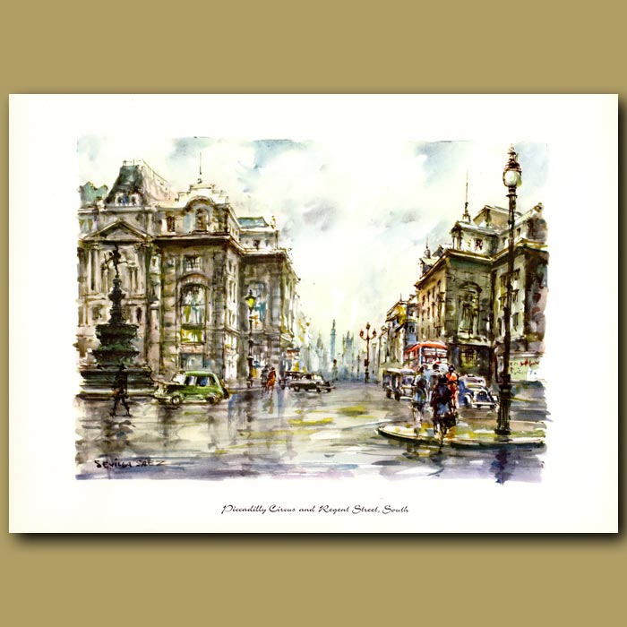 Antique print. Piccadilly Circus and Regent Street South