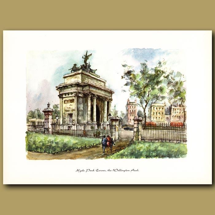 Antique print. Hyde Park Corner and Wellington Arch