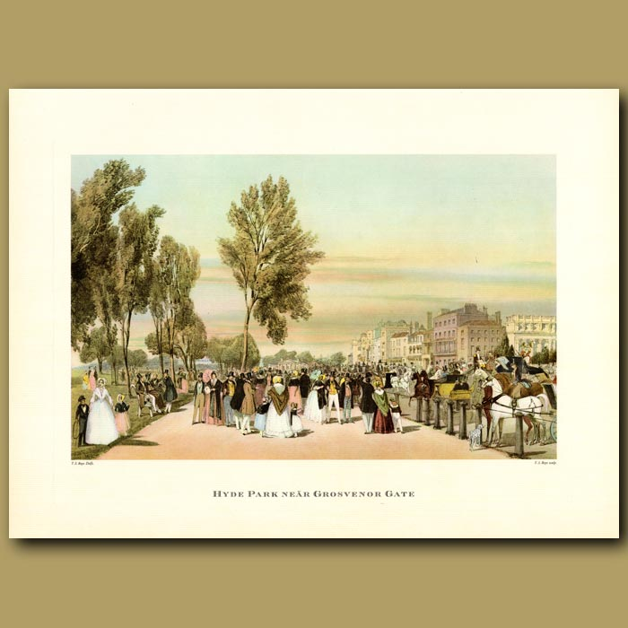 Antique print. Hyde Park near Grosvenor Gate