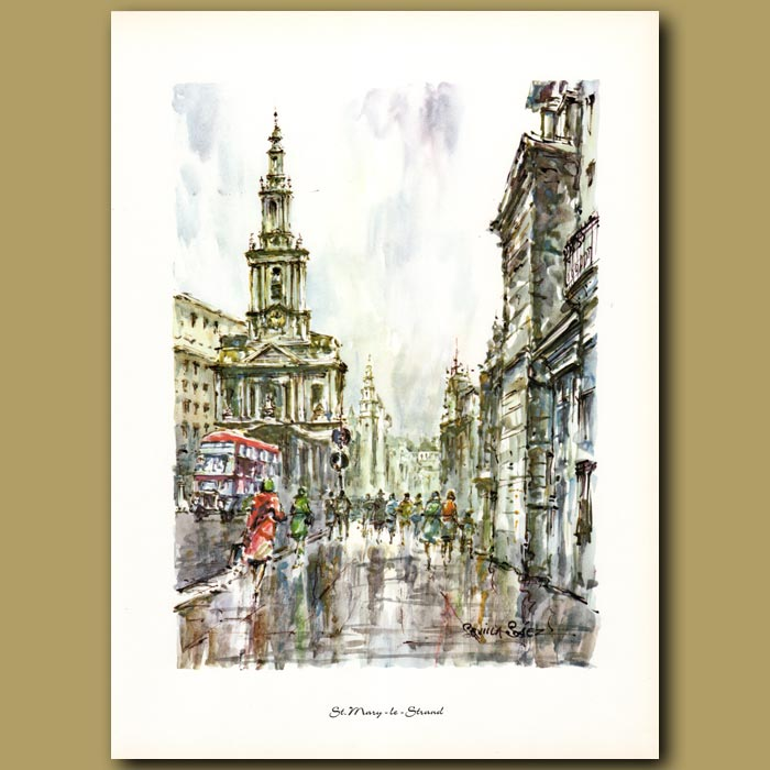Antique print. St.Mary-le-Strand