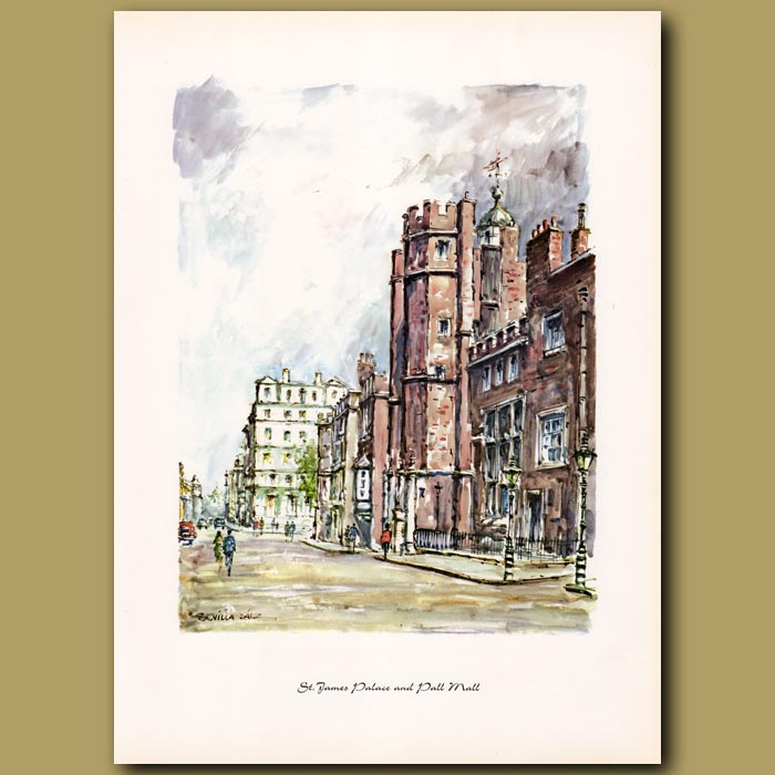Antique print. St James Palace and Pall Mall